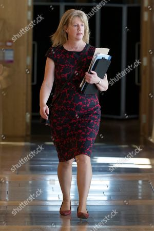 Stock Photo of Scottish Parliament First Minister's Questions - Shona Robison makes her way to the Debating Chamber.