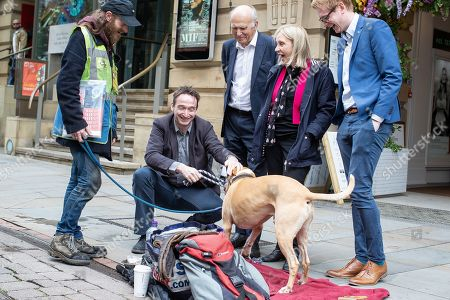 Editorial image of Vince Cable meets Big Issue sellers, Manchester, UK - 20 Jun 2019