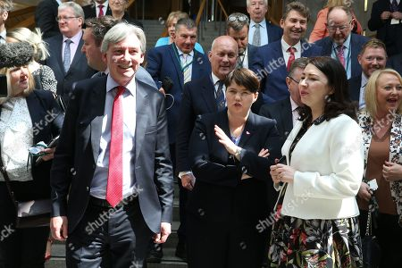 The Great Get Together (inspired by the murdered MP, Jo Cox) photocall at The Scottish Parliament - Richard Leonard, Leader of the Scottish Labour Party, Ruth Davidson, Leader of the Scottish Conservative and Unionist Party, and Monica Lennon, sponsor of the event, ahead of the photocall