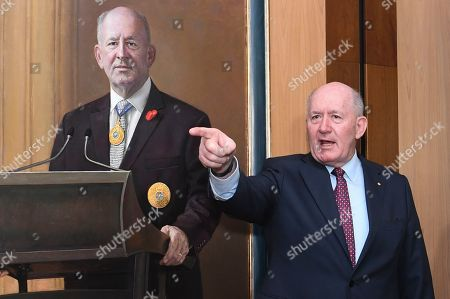 Outgoing Australian Governor-General Sir Peter Cosgrove poses for photographs during a ceremony to unveil his portrait at Parliament House in Canberra, Australian Capital Territory, Australia, 20 June 2019. The governor-general, who is stepping down from the post on 01 July at the end of his five-year commission, will be replaced by former New South Wales governor David Hurley.
