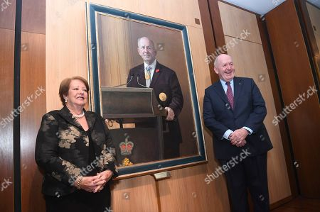 Outgoing Australian Governor-General Sir Peter Cosgrove and his wife Lynne pose for photographs during a ceremony to unveil his portrait at Parliament House in Canberra, Australian Capital Territory, Australia, 20 June 2019. The governor-general, who is stepping down from the post on 01 July at the end of his five-year commission, will be replaced by former New South Wales governor David Hurley.