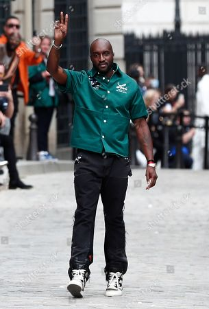 Ghanaian-American designer Virgil Abloh gestures after the presentation of his Spring/Summer 2020 Men's collection for Louis Vuitton during the Paris Fashion Week, in Paris, France, 20 June 2019. The presentation of the Spring/Summer 2020 menswear collections runs from 18 to 23 June 2019.