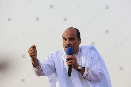 Mauritania's President Mohamed Ould Abdel Aziz addresses the final rally in Nouakchott, Mauritania, 20 June 2019. Mauritania will vote on 22 June for the first round of a presidential election for a successor to President Mohamed Ould Abdel Aziz, who is stepping down after his second and final term in office.