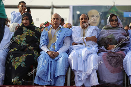 Mohamed Ould Cheikh Mohamed Ahmed Ghazouani, the ruling party's candidate,(2-L) his wife (L) Mauritania's President Mohamed Ould Abdel Aziz (2-R) his wife (R) attend a rally in Nouakchott, Mauritania, 20 June 2019. Mauritania will vote on 22 June for the first round of a presidential election for a successor to President Mohamed Ould Abdel Aziz, who is stepping down after his second and final term in office.