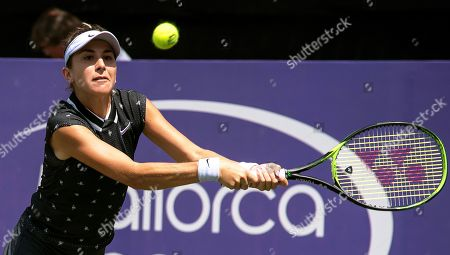 Belinda Bencic of Switzerland in action against Shelby Rogers of the USA during their second round match of the WTA Mallorca Open tennis tournament at Santa Ponsa's Club in Mallorca, Balearic Islands, Spain, 20 June 2019.