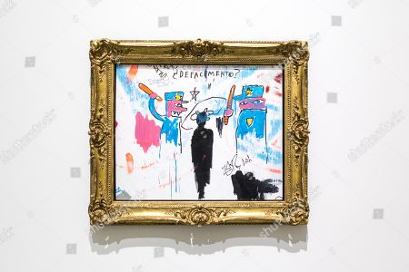 An artwork 'The Death of Michael Stewart' by American artist Jean-Michel Basquiat on display at the 'Basquiat's Defacement' Exhibition in the Solomon R. Guggenheim Museum in New York, New York, USA, 20 June 2019. The exhibition runs from 21 June to 06 November 2019.