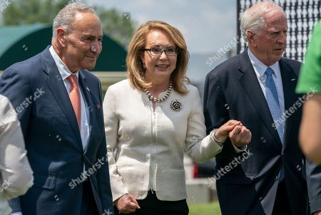 Nancy Pelosi, Mike Thompson, Gabby Giffords. Former Rep. Gabby Giffords of Arizona, who survived an assassination attempt in 2011, is joined by Senate Minority Leader Chuck Schumer, D-N.Y., left, and Rep. Mike Thompson, D-Calif., chairman of the House Gun Violence Prevention Task Force, as they arrive to meet with gun violence prevention advocates, at the Capitol in Washington
