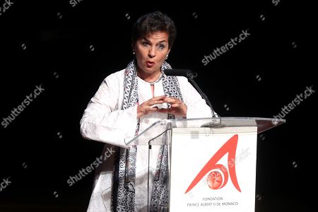 Christiana Figueres, the former Secretary General of the United Nations Framework Convention on Climate Change (UNFCCC), delivers a speech after receiving the 'Special award' during the XII Prince Albert II of Monaco Foundation Awards handover ceremony at the Reina Sofia National Art Museum in Madrid, Spain, 20 June 2019.