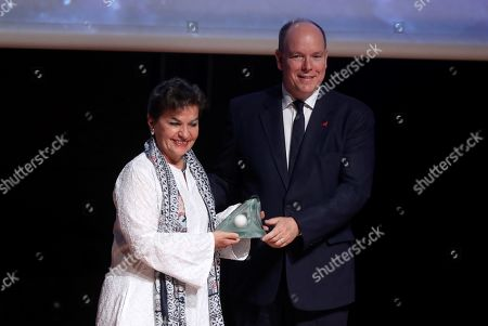 Christiana Figueres, the former Secretary General of the United Nations Framework Convention on Climate Change (UNFCCC) (L), receives the 'Special award' from Prince Albert II of Monaco (R) during the XII Prince Albert II of Monaco Foundation Awards handover ceremony at the Reina Sofia National Art Museum in Madrid, Spain, 20 June 2019.
