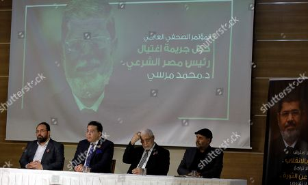 """Stock Image of Arm Adel, Ayman Nour, Mahmoud Hussien, Tarek Zomor. Egyptian politicians, from left, Arm Adel, Ayman Nour, Mahmoud Hussien and Tarek Zomor attend a press conference organised by Muslim Brotherhood for former Egyptian president Mohammed Morsi, in Istanbul, . Turkey's President Recep Tayyip Erdogan says his country is determined to ensure that the """"drama"""" surrounding Morsi's death is not forgotten. Erdogan made the comments during a meeting with a group of foreign journalists on Thursday, a day after he claimed that Morsi didn't die of natural causes but was killed"""