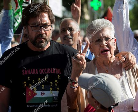 Stock Image of Spanish actor Javier Bardem (L) and his mother Spanish actress Pilar Bardem (R) attend a march against the repression of the people in Western Sahara held next to Moroccan Embassy in Madrid, Spain, 20 June 2019.
