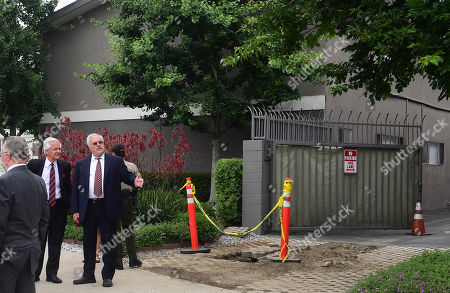 Michael Gargiulo's lawyers Dale Michael Rubin (2-L) and Daniel Nardoni (L) attend a jury visit of an evidence site located at 4626 Arden Way in El Monte during the murder trial of Michael Gargiulo in Los Angeles, California, USA, 20 June 2019. Gargiulo is charged in the stabbing deaths of two women, one of whom was about to go out with actor Ashton Kutcher that night, as well as attempting to kill a woman during a robbery at her Santa Monica home.