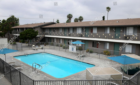 Stock Photo of A picture shows the view from Michael Gargiulo's apartment to the victim's taken during a jury visit of an evidence site located at 4626 Arden Way in El Monte during the murder trial of Michael Gargiulo in Los Angeles, California, USA, 20 June 2019. Gargiulo is charged in the stabbing deaths of two women, one of whom was about to go out with actor Ashton Kutcher that night, as well as attempting to kill a woman during a robbery at her Santa Monica home.