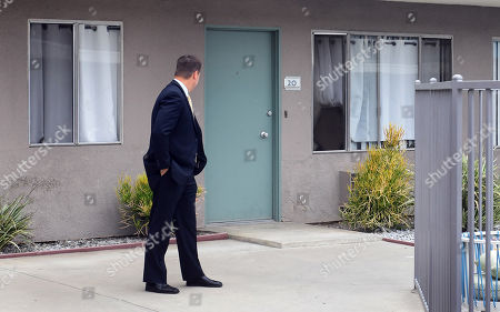 District attorney Garrett Dameron attends a jury visit of an evidence site located at 4626 Arden Way in El Monte during the murder trial of Michael Gargiulo in Los Angeles, California, USA, 20 June 2019. Gargiulo is charged in the stabbing deaths of two women, one of whom was about to go out with actor Ashton Kutcher that night, as well as attempting to kill a woman during a robbery at her Santa Monica home.