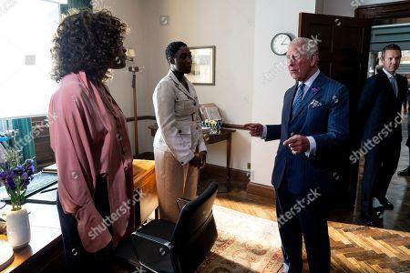 Prince Charles meets British actors Lashana Lynch and Naomie Harris