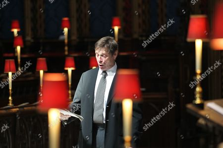 Stock Image of Sir Simon Keenlyside CBE sings The Anthem during rehearsals.