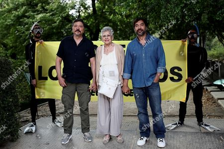 Stock Photo of Spanish actress Pilar Bardem (C) and her sons and actors Javier Bardem (R) and Carlos Bardem (L) take part in Greenpeace campaign on protection oceans in Madrid, Spain, 20 June 2019.