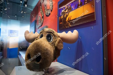 A costume moose head from a 2008 Saturday Night Live sketch regarding then-Governor of Alaska Sarah Palin is on display during a media preview of the exhibit 'Seriously Funny: From the Desk of 'The Daily Show with Jon Stewart' at the Newseum in Washington, DC, USA, 20 June 2019. The exhibit opens to the public 21 June and runs through the end of 2019.