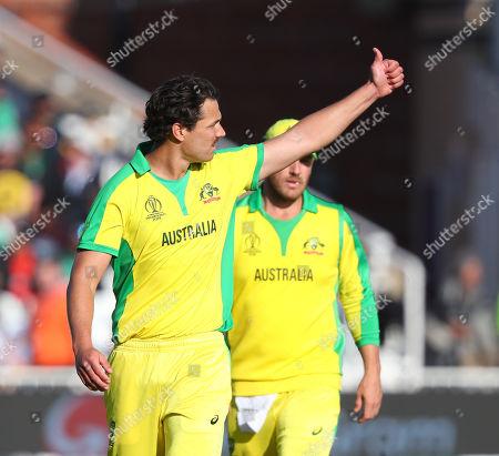 NOTTINGHAM, ENGLAND. 20 JUNE Nathan Coulter-Nile of Australia celebrates taking the wicket of Sabbir Rahman of Bangladesh during the Australia v Bangladesh, ICC Cricket World Cup match, at Trent Bridge, Nottingham, England
