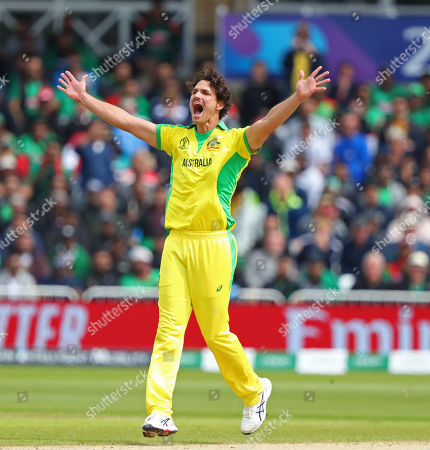 NOTTINGHAM, ENGLAND. 20 JUNE Nathan Coulter-Nile of Australia makes an unsuccessful appeal for a wicket during the Australia v Bangladesh, ICC Cricket World Cup match, at Trent Bridge, Nottingham, England