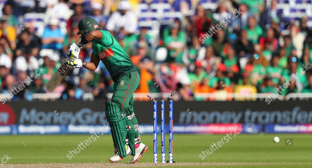 NOTTINGHAM, ENGLAND. 20 JUNE Sabbir Rahman of Bangladesh is bowled out by Nathan Coulter-Nile of Australia during the Australia v Bangladesh, ICC Cricket World Cup match, at Trent Bridge, Nottingham, England