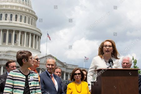 Former Congresswoman Gabrielle Giffords speaks at a rally on Capitol Hill. The bill was passed in the House, but has been blocked by Republicans in the Senate.