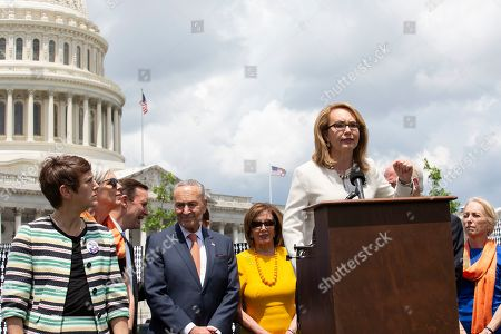 Former Congresswoman Gabrielle Giffords, of Arizona, speech at a rally on Capitol Hill. The bill was passed in the House, but has been blocked by Republicans in the Senate.