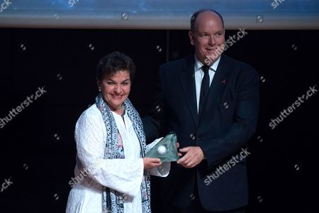 Christiana Figueres, former executive secretary of the United Nations Framework Convention on Climate Change and Prince Albert II of Monaco