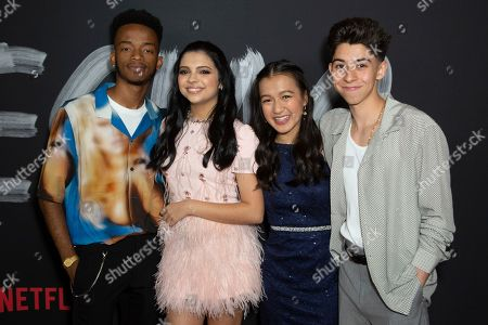 "Stock Image of Coy Stewart, Cree Cicchino, Gloria Aung, Fabrizio Zacharee Guido. Coy Stewart, from left, Cree Cicchino, Gloria Aung and Fabrizio Zacharee Guido attend the LA Premiere of ""Mr. Iglesias"" at the Regal LA Live, in Los Angeles"