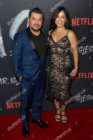 """Jacob Vargas, Sylvia Arzate. Jacob Vargas, left, and Sylvia Arzate attend the LA Premiere of """"Mr. Iglesias"""" at the Regal LA Live, in Los Angeles"""