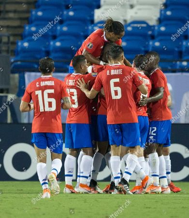 Costa Rica defender Cristian Gamboa (16), midfielder Allan Cruz (13), defender Óscar Duarte (6),and others celebrate a goal against Bermuda during the first half of a CONCACAF Gold Cup soccer match in Frisco, Texas