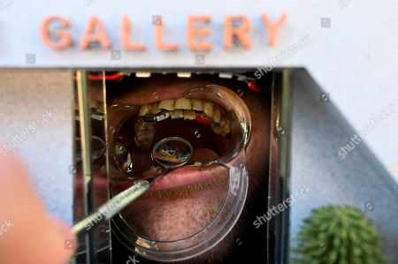 Miniature artwork by artists Damien Hirst, Jeff Koons, Jasper Johns, David Choe and Anish Kapoor is seen attached to the teeth of a member of the Plaque Gallery during the first showing of the smallest functional gallery outside the National Gallery of Australia in Canberra, Australia, 21 June 2019. After this opening in Australia, Plaque Gallery is set to travel the world, leaving on Sunday for New York, London, Paris, Berlin then Tokyo.