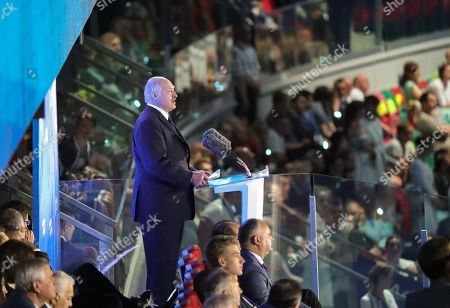 Stock Image of Belarus President Aleksandr Lukashenko speaks during the opening ceremony of the 2nd European Games on the Dinamo Stadium in Minsk, Belarus, 21 June 2019. The 2019 European Games will be held in Belarus from 21 to 30 June 2019.