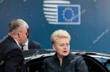 Lithuanian President Dalia Grybauskaite arrives during the second day of a European Council Summit in Brussels, Belgium, 21 June 2019. European leaders take the relevant decisions on appointments for the next institutional cycle and adopt the EU's strategic agenda for 2019-2024.
