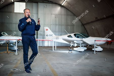 Andre Borschberg, Chairman of H55 presents H55?s electric flight trainer, a fully electric two-seater propulsion airplane, during a press conference in Sion, Switzerland, 21 June 2019. The technology used in the aircraft is derived from the 'Solar Impulse' airplanes, the first electric powered planes of which the 'Solar Impulse 2' (HB-SIB), co-piloted by Borschberg and Swiss psychiatrist, balloonist and adventurer Bertrand Piccard, successfully circumnavigated the world in 2016.
