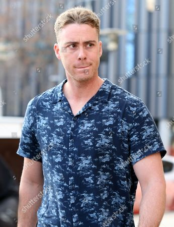 US baseball player Timothy William Cusick leaves the Adelaide Magistrates Court in Adelaide, South Australia, 21 June 2019. Cusick has been granted bail after facing court over a carjacking, theft and crash in Adelaide.