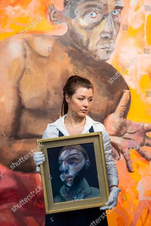 Francis Bacon, Self-Portrait, 1975, Estimate: £15,000,000-20,000,000, and  Albert Oehlen, Selbstportrait mit Leeren Händen, 1998, Estimate: £4,000,000-6,000,000