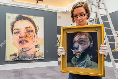 Stock Image of Francis Bacon, Self-Portrait, 1975, Estimate: £15,000,000-20,000,000 and Jenny Saville, Shadow Head, 2007-2013, Estimate: £3,000,000-5,000,000