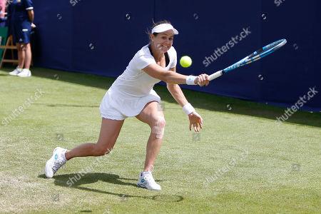 Jana Cepelova of Slovakia plays a backhand during the Fuzion 100 Ilkley Lawn Tennis Trophy Tournament held at Ilkley Lawn Tennis and Squad Club, Ilkley
