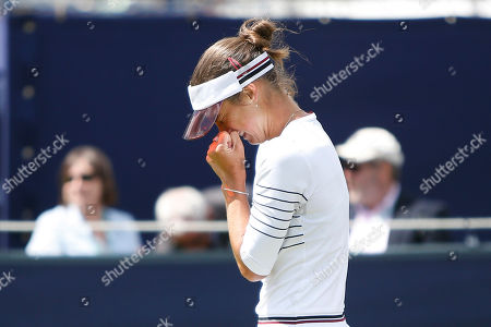 Bibiane Schoofs of Holland celebrates victory in the Women's Singles Quarter Final during the Fuzion 100 Ilkley Lawn Tennis Trophy Tournament held at Ilkley Lawn Tennis and Squad Club, Ilkley