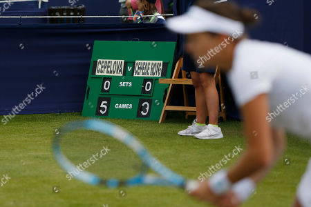 The scoreboard shows Jana Cepelova of Slovakia 5-3 up during the Women's Singles Quarter Final at the Fuzion 100 Ilkley Lawn Tennis Trophy Tournament held at Ilkley Lawn Tennis and Squad Club, Ilkley