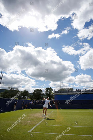 Jana Cepelova of Slovakia serves during the Women's Singles Quarter Final at the Fuzion 100 Ilkley Lawn Tennis Trophy Tournament held at Ilkley Lawn Tennis and Squad Club, Ilkley