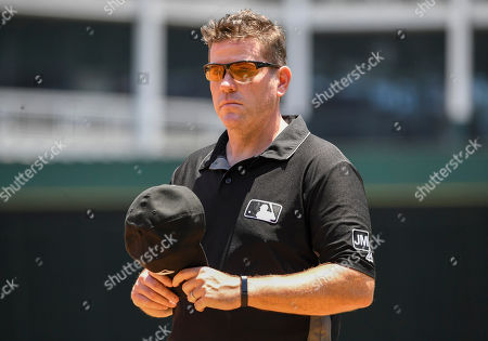 Stock Picture of MLB umpire Chris Conroy #98 during an afternoon MLB game between the Cleveland Indians and the Texas Rangers at Globe Life Park in Arlington, TX Texas defeated Cleveland 4-2 Albert Pena/CSM