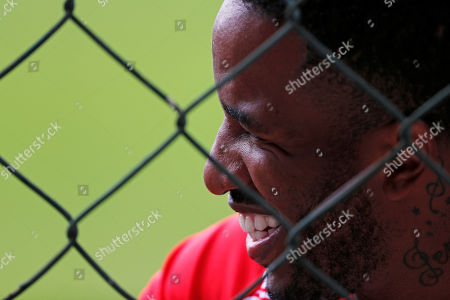 Peru's Jefferson Farfan smiles during a training session of the national soccer team in Sao Paulo, Brazil, . Peru will face Brazil on Saturday for a Group A match of the Copa America soccer tournament