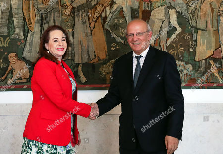 President of the United Nations General Assembly Maria Fernanda Espinosa Garces (L) is received by portuguese Foreign Affairs minister Augusto Santos Silva (R) before their meeting at the Necessidades palace in Lisbon, Portugal, 21 June 2019.