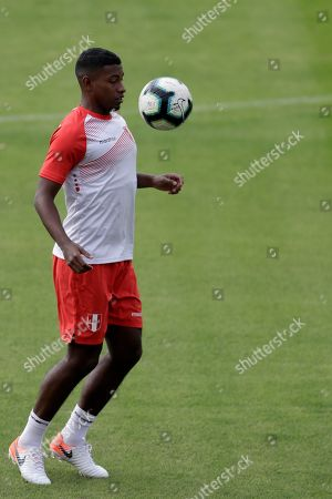 Miguel Araujo from Peru participates in a training, in Sao Paulo, Brazil, 21 June 2019. Peru faces Brazil on 22 June for the Copa América 2019.