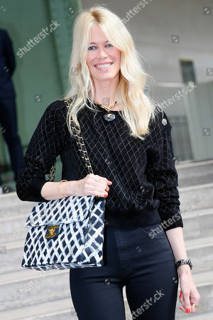 """Model Claudia Schiffer arrives at the event named """"Karl for Ever"""" at the Grand Palais in Paris, France, . The event pays tribute to late German fashion designer Karl Lagerfeld who died Feb. 19, 2019"""