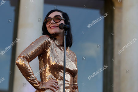 Stock Photo of Sylvie Hoarau of the French duo Brigitte performs in the courtyard of the presidential Elysee Palace as part of France's annual music festival in Paris, France, 21 June 2019. Sir Elton John received the Legion of Honor, France's highest award, during a visit to the presidential Elysee Palace.
