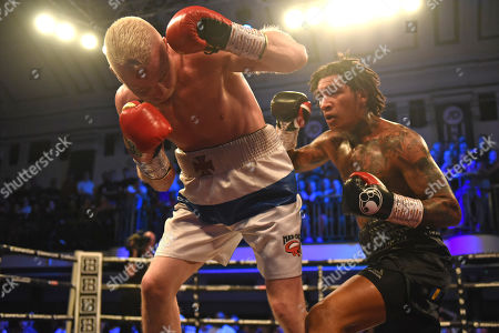Conor Benn (black shorts) defeats Jussi Koivula during a Boxing Show at York Hall on 21st June 2019