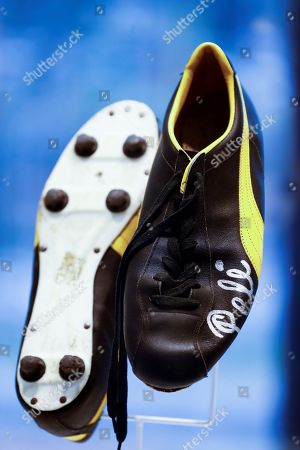 A view of a soccer boots signed by Pele during an exhibition on the Qatar 2022 World Cup, organized by the World Cup 2022 Organizing Committee, in Sao Paulo, Brazil, 21 June 2019. Cafu was appointed as one of the ambassadors of the event.